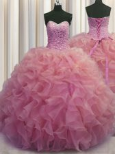 Best Selling Watermelon Red Lace Up Sweetheart Beading and Ruffles Sweet 16 Dresses Organza Sleeveless