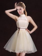 Halter Top Organza Sleeveless Mini Length Damas Dress and Lace and Belt