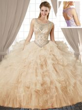 Scoop Sleeveless Lace Up Floor Length Beading and Ruffles Quinceanera Dresses