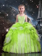 Apple Green Tulle Lace Up Spaghetti Straps Sleeveless Floor Length Pageant Gowns For Girls Beading and Ruffled Layers