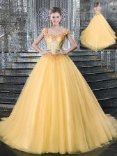 New Style Straps Gold Sleeveless Brush Train Beading With Train Quinceanera Dress