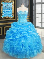 Baby Blue Ball Gowns Sweetheart Sleeveless Organza Floor Length Lace Up Beading and Ruffles and Pick Ups Quince Ball Gowns