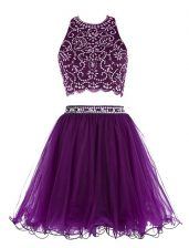 Sexy Scoop Sleeveless Mini Length Beading Clasp Handle Prom Evening Gown with Purple
