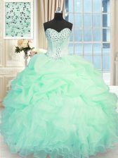 Apple Green Sleeveless Floor Length Beading and Ruffles Lace Up Quince Ball Gowns