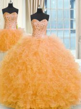 Three Piece Orange Tulle Lace Up Strapless Sleeveless Floor Length Sweet 16 Quinceanera Dress Beading and Ruffles