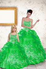 Sumptuous Sleeveless Floor Length Beading and Embroidery and Pick Ups Lace Up Vestidos de Quinceanera with Green