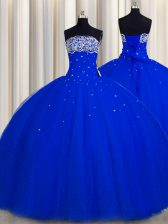 Really Puffy Royal Blue Strapless Lace Up Beading and Sequins Quinceanera Dresses Sleeveless