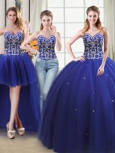Four Piece Sleeveless Floor Length Beading Lace Up Quinceanera Gown with Royal Blue
