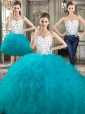 Superior Three Piece Floor Length White Sweet 16 Dresses Sweetheart Sleeveless Lace Up
