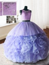 Ideal Scoop Sleeveless Brush Train Beading and Lace and Ruffles Zipper Quinceanera Dresses