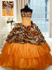 Graceful Printed Orange Quince Ball Gowns Military Ball and Sweet 16 and Quinceanera with Beading and Ruffled Layers Strapless Sleeveless Sweep Train Lace Up