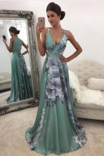 Delicate Sweep Train Empire Prom Gown Green V-neck Chiffon and Printed Sleeveless With Train Zipper
