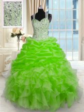Affordable Ball Gowns Organza Straps Sleeveless Beading Floor Length Zipper Quinceanera Dresses