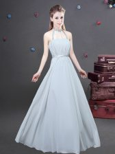 New Style Halter Top Ruching Quinceanera Court of Honor Dress Grey Zipper Sleeveless Floor Length
