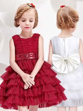 Scoop Mini Length Red Flower Girl Dress Tulle Sleeveless Ruffled Layers and Sequins and Bowknot