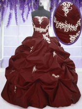 Shining Burgundy Ball Gowns Appliques and Pick Ups Vestidos de Quinceanera Lace Up Taffeta Sleeveless Floor Length