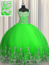 Flare Green Lace Up Straps Beading and Appliques Quinceanera Gown Tulle Sleeveless