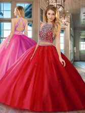 Scoop Sleeveless Backless Floor Length Beading Quinceanera Gown