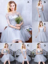 Scoop Sleeveless Tulle Dama Dress Lace and Appliques and Belt Lace Up
