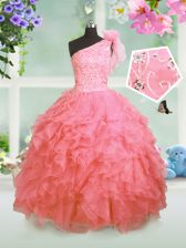 One Shoulder Sleeveless Lace Up Little Girl Pageant Gowns Watermelon Red Organza