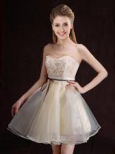 Exquisite Mini Length Lace Up Quinceanera Court of Honor Dress Champagne for Prom and Party and Wedding Party with Appliques and Belt