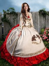 White And Red Sleeveless Brush Train Beading and Embroidery and Ruffles With Train Vestidos de Quinceanera