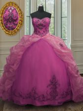 Elegant Fuchsia Sweetheart Neckline Beading and Appliques and Pick Ups 15 Quinceanera Dress Sleeveless Lace Up