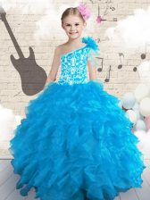 Baby Blue Ball Gowns Organza One Shoulder Sleeveless Embroidery and Ruffles and Hand Made Flower Floor Length Lace Up Kids Formal Wear