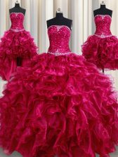 Best Selling Four Piece Burgundy Organza Lace Up Strapless Sleeveless Floor Length 15th Birthday Dress Beading and Ruffles