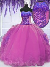 Lilac Ball Gowns Organza Strapless Sleeveless Embroidery and Ruffles Floor Length Lace Up 15 Quinceanera Dress