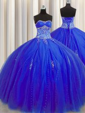 Puffy Skirt Floor Length Ball Gowns Sleeveless Royal Blue 15th Birthday Dress Lace Up