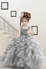 Grey Lace Up Little Girl Pageant Gowns Beading and Ruffles Sleeveless Floor Length