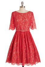 Lace Red Scoop Neckline Belt Homecoming Dress Short Sleeves Zipper