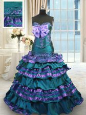 Popular Appliques and Ruffled Layers and Bowknot 15th Birthday Dress Peacock Green Lace Up Sleeveless Sweep Train