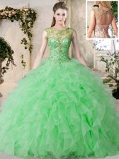 High End Scoop Sleeveless Floor Length Beading and Ruffles Lace Up Quince Ball Gowns with Green