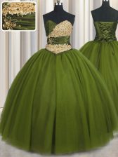 Olive Green Lace Up Quinceanera Gowns Beading and Ruching and Belt Sleeveless Floor Length