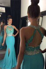 Popular Halter Top Sleeveless With Train Beading and Appliques Zipper Evening Dress with Aqua Blue Brush Train