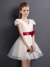 Champagne Organza Lace Up V-neck Short Sleeves Mini Length Quinceanera Dama Dress Lace and Hand Made Flower