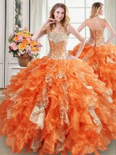 Luxury Orange Ball Gowns Sweetheart Sleeveless Organza Floor Length Lace Up Beading and Ruffles and Sequins 15 Quinceanera Dress