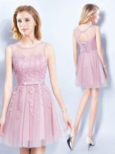 Exquisite Scoop Mini Length Lace Up Quinceanera Dama Dress Pink for Prom and Party and Wedding Party with Appliques and Belt