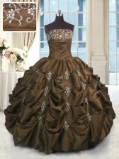 Brown Taffeta Lace Up Sweet 16 Quinceanera Dress Sleeveless Floor Length Beading and Appliques and Embroidery and Pick Ups