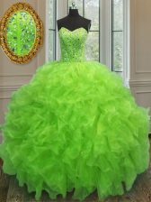 Trendy Sleeveless Organza Floor Length Lace Up Ball Gown Prom Dress in Yellow Green with Beading and Ruffles