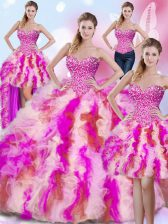 Custom Design Four Piece Beading and Ruffles Quinceanera Gown Multi-color Lace Up Sleeveless Floor Length