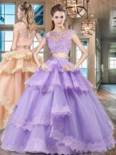 Lavender Two Pieces Tulle Scoop Cap Sleeves Beading and Lace and Appliques and Ruffled Layers Floor Length Zipper Ball Gown Prom Dress