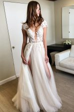 Hot Sale Cap Sleeves Floor Length Lace Lace Up Prom Gown with White
