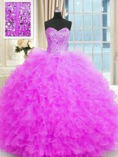 Nice Lilac Sleeveless Floor Length Beading and Ruffles Lace Up Quinceanera Dress