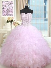 Elegant Lilac Ball Gowns Beading and Ruffles and Ruffled Layers Vestidos de Quinceanera Lace Up Organza Sleeveless Floor Length