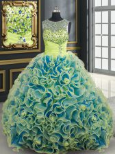 Custom Designed Scoop See Through Fabric with Rolling Flowers Yellow Green Sleeveless Brush Train Beading and Sequins Vestidos de Quinceanera
