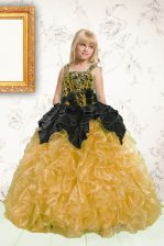 Floor Length Lace Up Little Girl Pageant Gowns Gold for Party and Wedding Party with Beading and Pick Ups