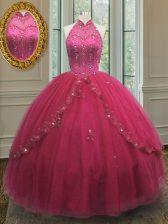 Hot Pink Ball Gowns Tulle Halter Top Sleeveless Beading and Appliques Floor Length Lace Up Ball Gown Prom Dress